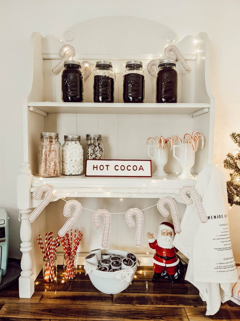 hot cocoa bar decorated for Christmas