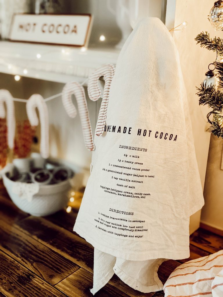 hearth and hand homemade hot cocoa tea towel
