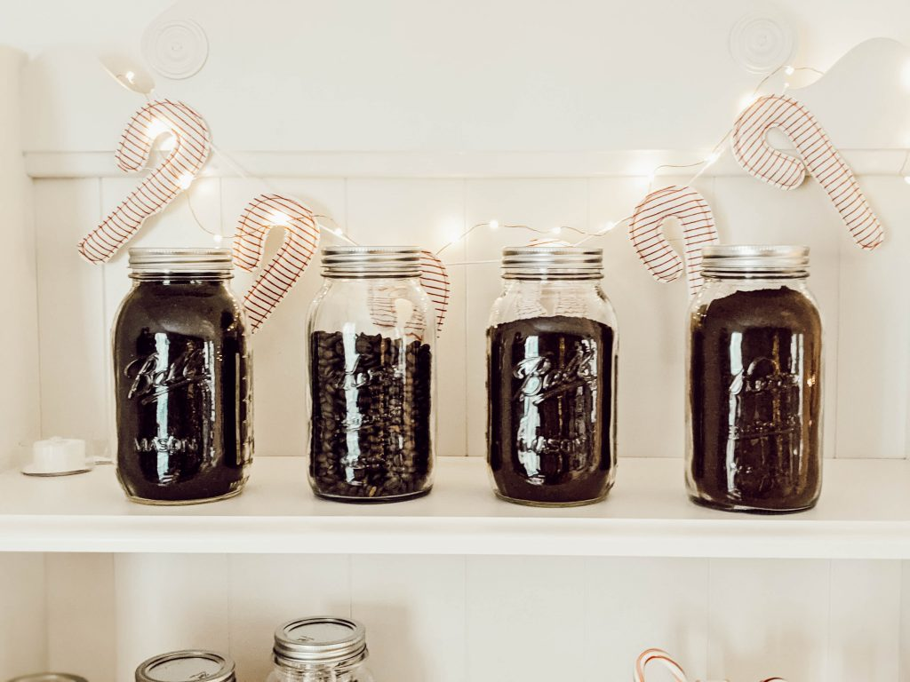 vintage Ball mason jars and Kerr mason jars filled with coffee