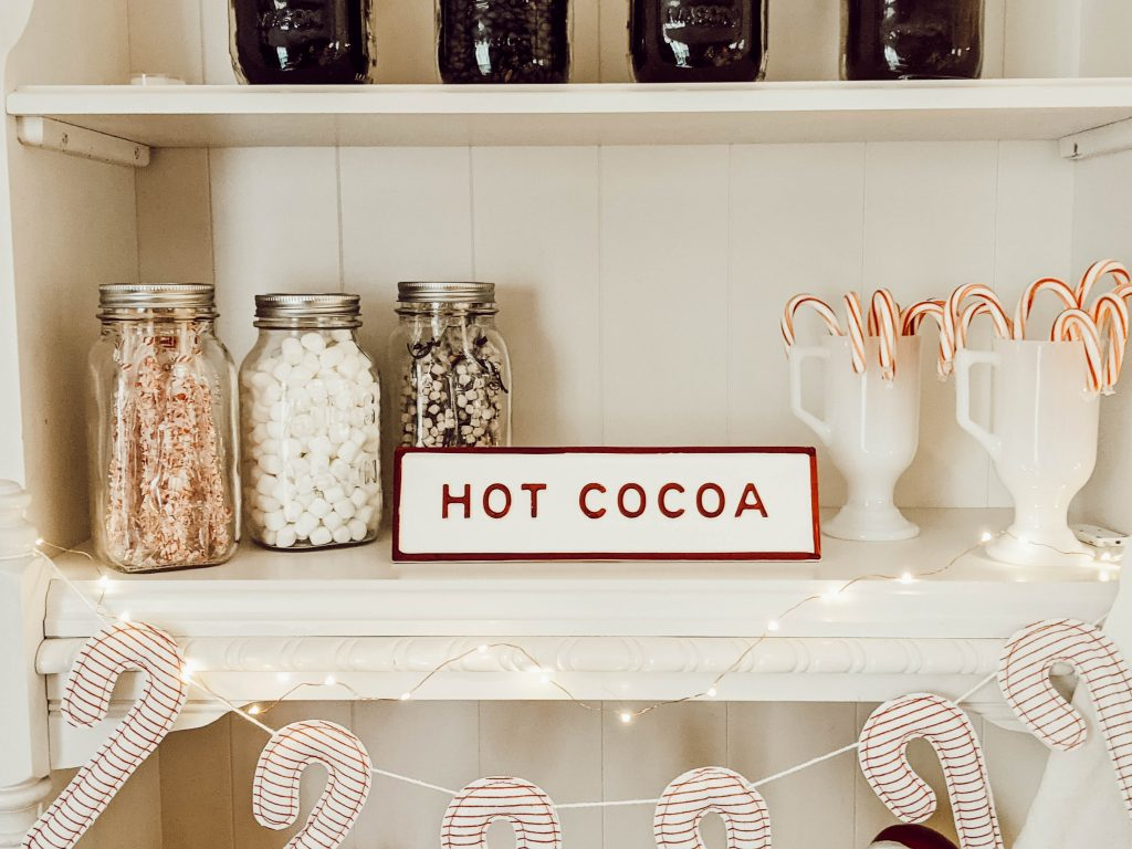 hearth and hand hot cocoa sign, vintage atlas mason jars, and vintage milk glass mugs