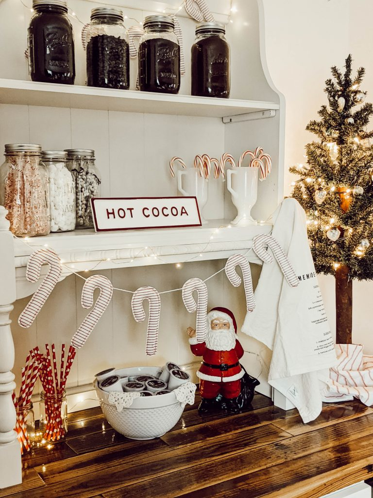 Christmas themed hot cocoa bar