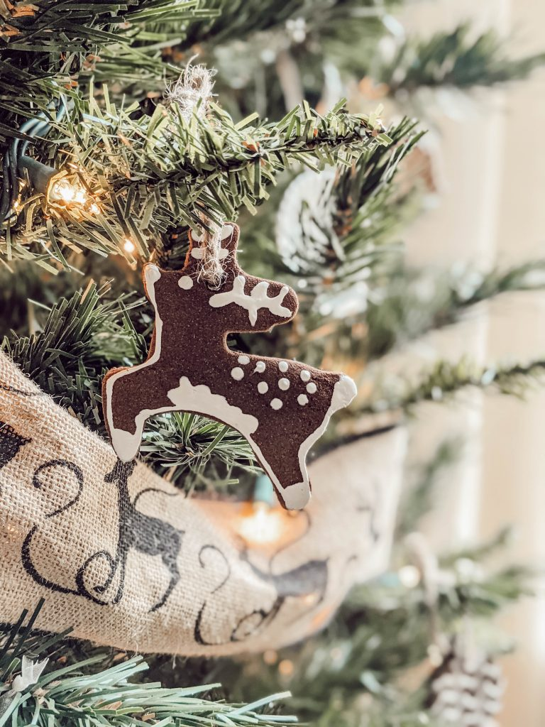 homemade cinnamon ornament in the shape of a reindeer